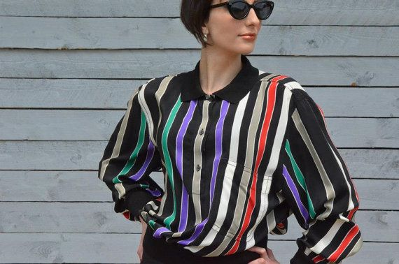 Multicolor striped blouse with collar by RoaringRetro on Etsy, $35.00