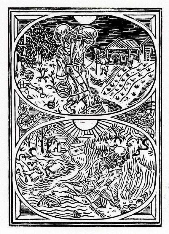 "Original Artwork Linoprint ""The hermit's triumph"" - Chris Richford dark art print witchcraft art hermitic art print alchemical art woodcut"