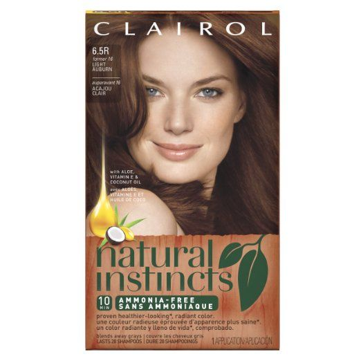 Clairol Natural Instincts, 6.5R / 16 Spiced Tea Light Auburn, Semi-Permanent Hair Color, 1 Kit, Keep your look fresh with commitment-free semi-permanent color that lasts 28 washes, The healthier way to radiant color with 0% ammonia (Natural Instincts non-permanent Level 2 vs. leading triple-protection permanent),