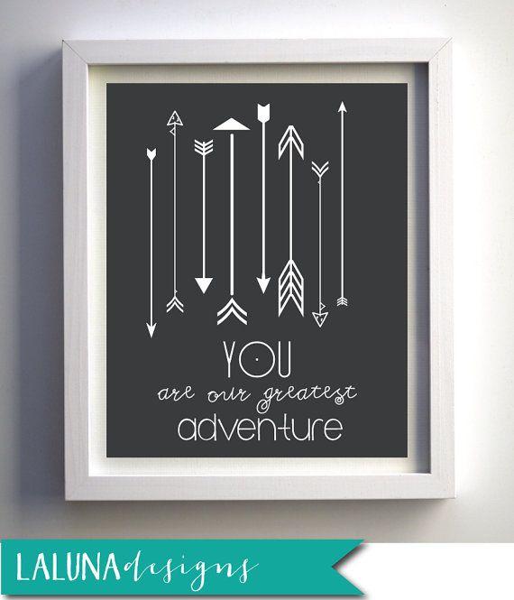 You Are our Greatest Adventure Nursery Art Arrow by LaLunaDesigns