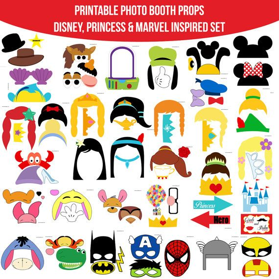 Instant Download HUGE COMBINED SET 35 pages of props! Disney Princess Marvel Inspired Printable Photo Booth Props Photobooth Props