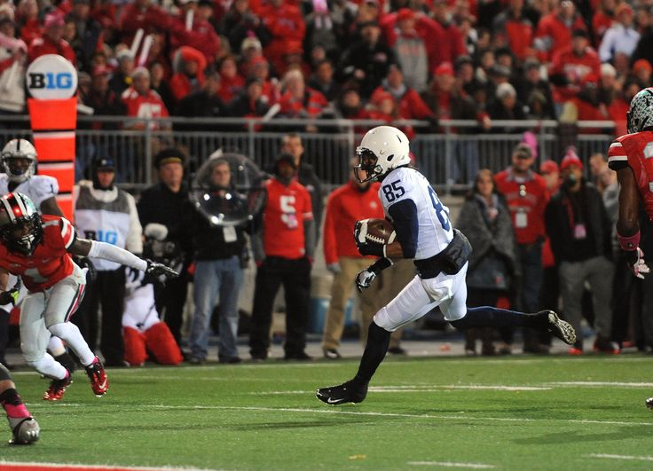 PENN STATE – FOOTBALL 2013 – Penn State vs Ohio State on October 26, 2013. BRANDON FELDER fights way into end zone with 12-yard pass from Hackenberg for first Penn State touchdown, as Jesse James signals score.