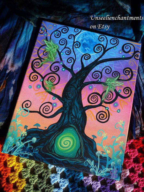 Portal - Original Acrylic Painting on Stretched Canvas, OOAK, Faerie, Otherworld, Fairy Doorway, Faery, Tree of Life, Spiritual Psychedelic