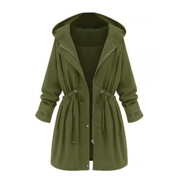 Choies Green High Waist Hooded Long Sleeve Coat (€53) ❤ liked on Polyvore featuring outerwear, coats, jackets, casacos, coats & jackets, green coat, hooded coat, green hooded coat and long sleeve coat