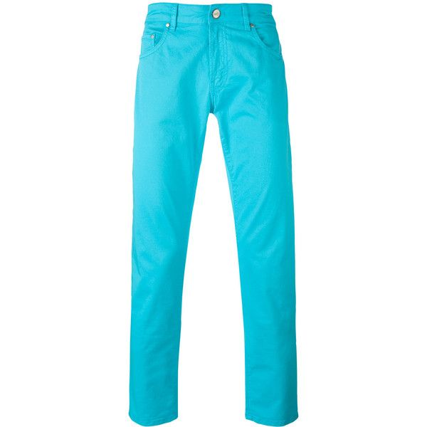 Pt01 classic chino trousers ($177) ❤ liked on Polyvore featuring men's fashion, men's clothing, men's pants, men's casual pants, blue, mens chinos pants, mens chino pants, mens blue pants and mens blue chino pants