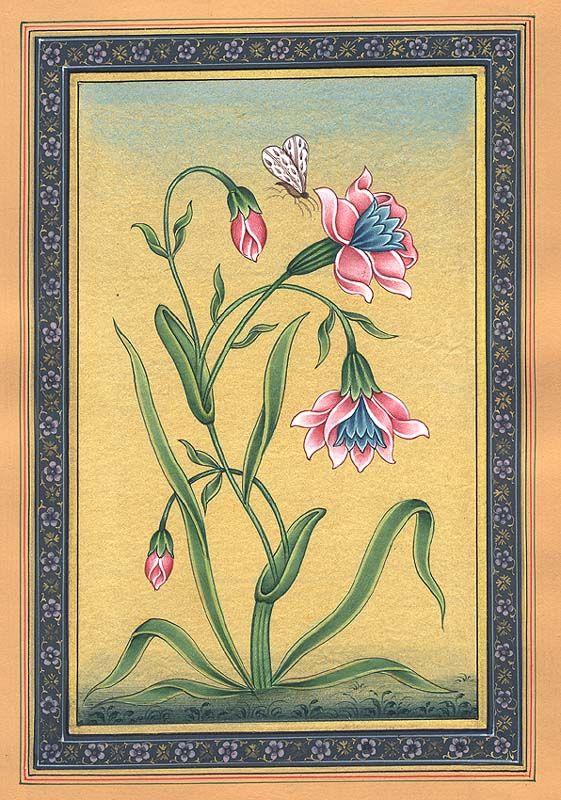Flowers in Bloom, Mughal painting