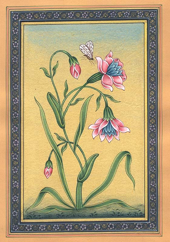Flowers in Bloom, Mughal painting