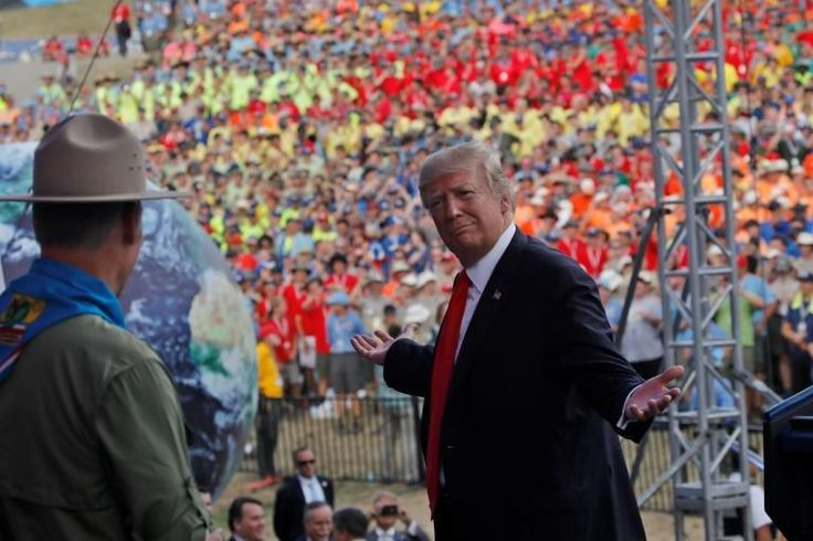 Angry parents have pledged to withdraw their sons from Boy Scouts amid an outcry over Donald Trump's highly politicised speech to tens of thousands of youngsters.  The US President broke with tradition to attack his political foes, threaten to fire federal employees, and denounce the media in a rambling