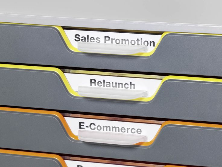 Varicolor® drawers can be labelled with the printed inserts supplied.