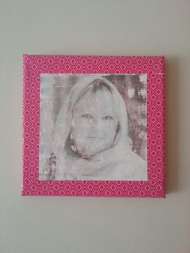 Mod Podge photo on canvas with washi taoe frame