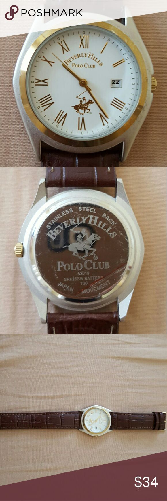 Polo Watch Beverly Hills Polo Club Watch  brand new; in perfect condition; no signs of use  the gold rim is not chipped, it's just the reflection  made out of real leather  (no original packaging) Polo by Ralph Lauren Accessories Watches