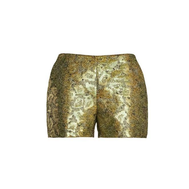 Naughty Dog FW1516 gold lurex jacquard shorts