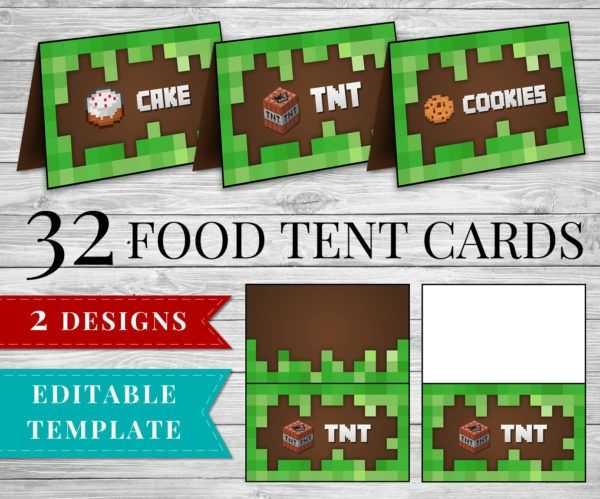 Printable Minecraft Food Tent Cards Minecraft Birthday Party Supplies Minecraft Food Tent Cards Minecraft Food Minecraft Party