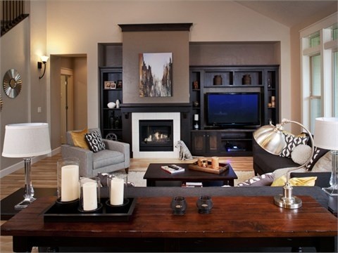 fireplace wall with tv offset  Dwelling Living Space