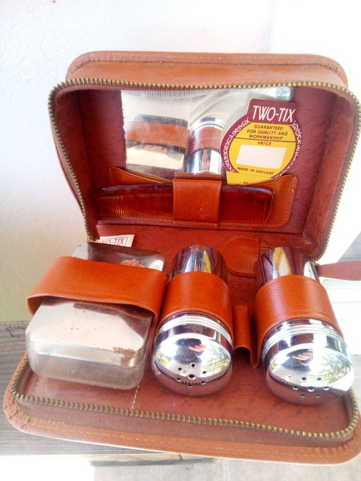 vintage gents bathroom grooming small travel kit TWO TIX brown leather case