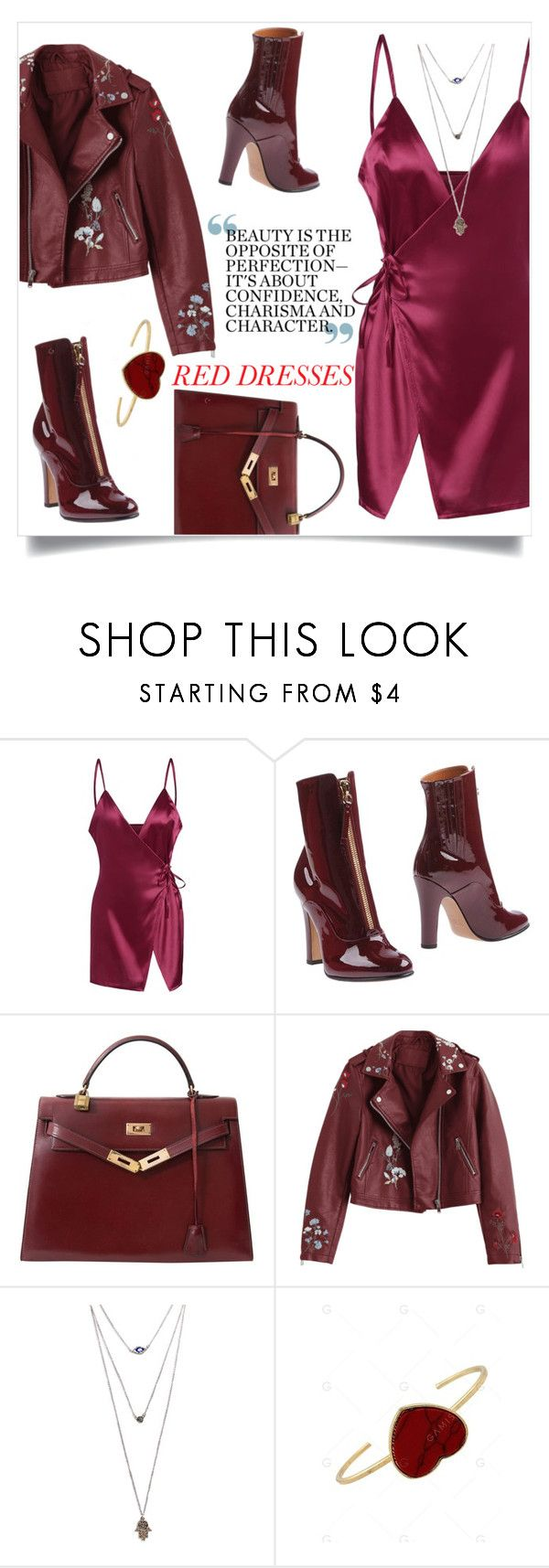 """""""red rosegal🍷"""" by groovybeauty ❤ liked on Polyvore featuring Valentino, Hermès and Wet Seal"""