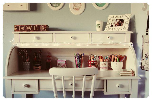 Desk, Vintage, Ideia, Decor, Gavetas, Quadros. <3