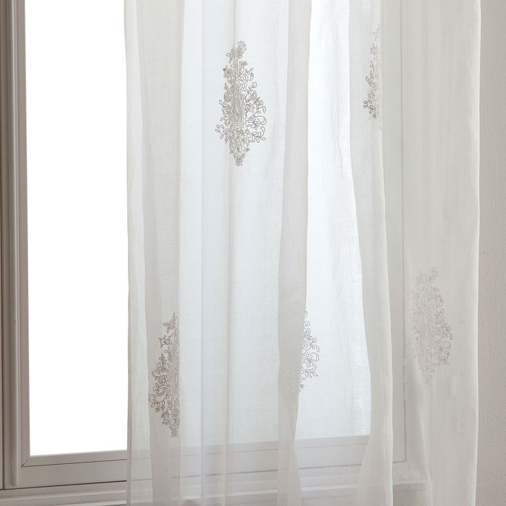 Image 1 of the product White embroidered organza curtain