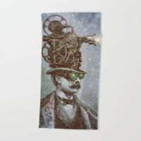 The Projectionist (colour option) Beach Towel  #society6 #summer #beach #towel #beachtowel #art #illustration #design #vintage #victorian #tophat #surreal #film #projector #steampunk