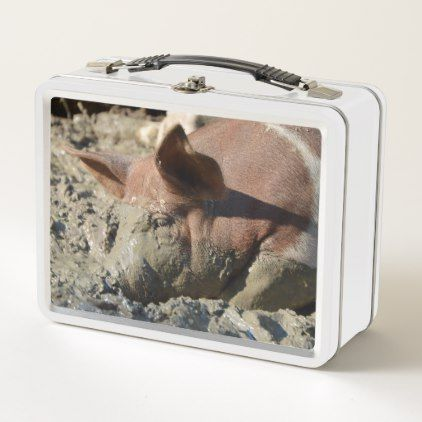 Funny Pig Taking A Mud Bath Metal Lunch Box - kitchen gifts diy ideas decor special unique individual customized