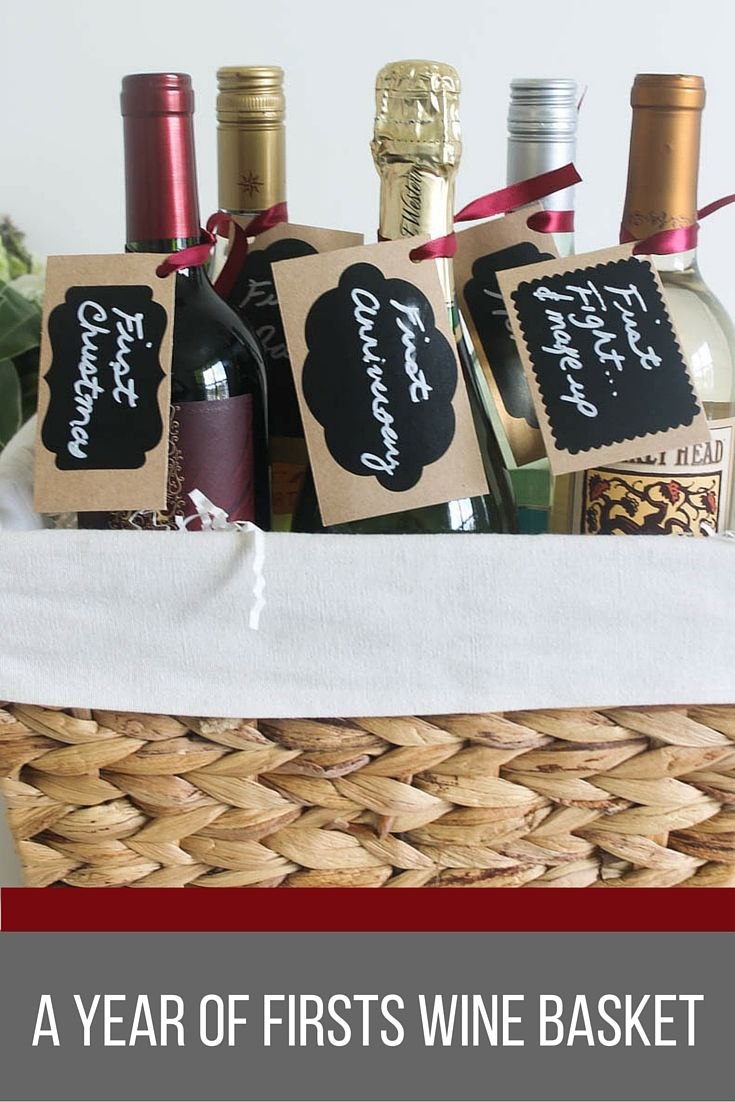 a year of firsts wine basket gift