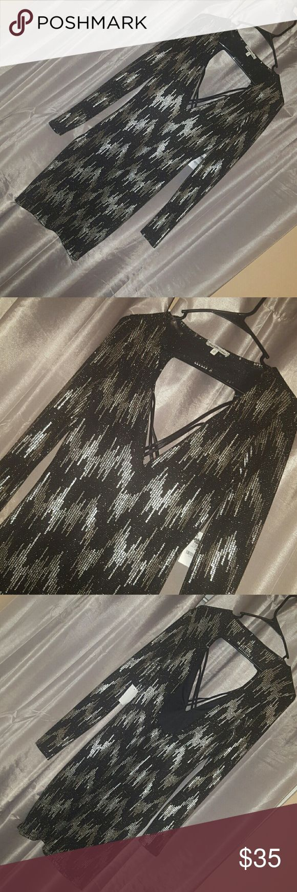 gold and black charlotte ruse dress very shiny and sparkly and gold sequences, brand new , Charlotte Russe Dresses Backless