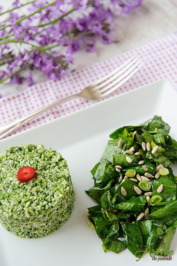 Cuscus raw verde-viu cu spanac marinat
