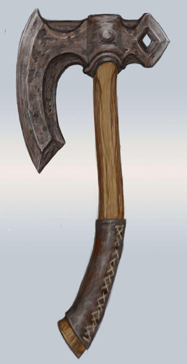 Iron Hand Axe concept art from The Elder Scrolls V: Skyrim by Adam Adamowicz