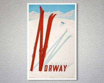 Norvège ski Travel Poster - affiche, autocollant ou impression sur toile