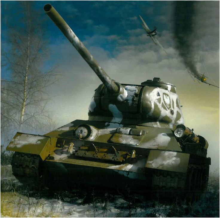 """T-34/85 model 1944 Polish People's Army (LWP) with the """"white eagle Piast"""" in front of. Pomerania, Poland January 30 - February 11, 1945. Arkadiusz Wróbel"""