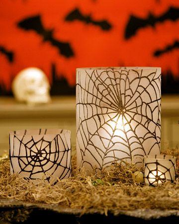 DIY: Glittered Spiderweb HurricanesHalloween Decor, Spider Webs, Candles Holders, Glitter Spiderweb, Halloween Crafts, Glitter Spiders, Martha Stewart, Spiderweb Candles, Spiders Web
