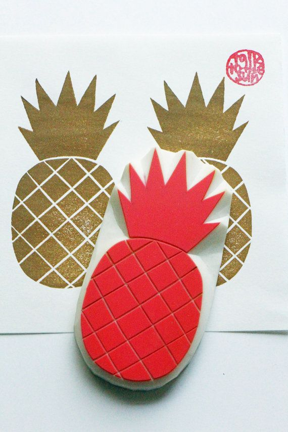 pineapple hand carved rubber stamp. tropical fruit by talktothesun