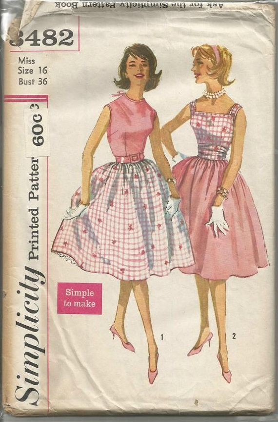 ff3957ec1071f6 1960s Bouffant Skirt Cummerbund Blouses Two Styles Simple to Make Easy to  Sew Simplicity 3482 Bust 36 Uncut FF Womens Vintage Sewing Pattern