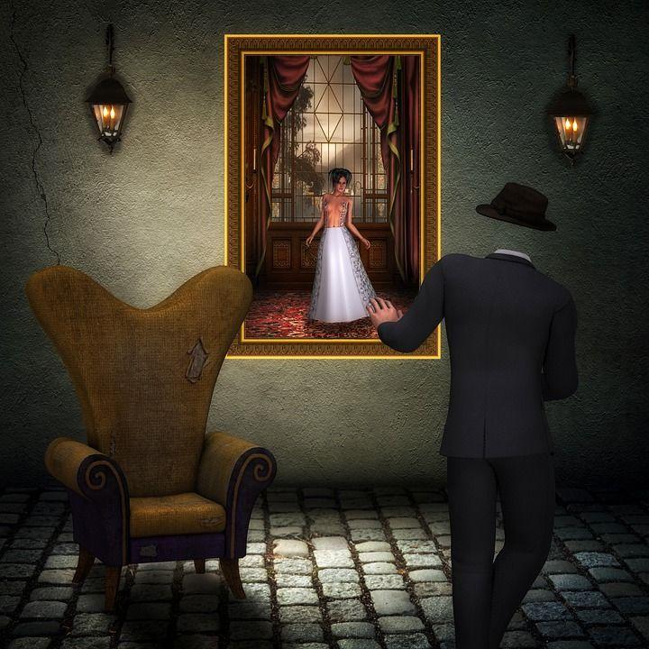 Mann, Kopflos, Frau, Unerreichbar, Träume, Digital Art