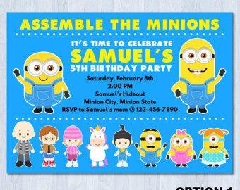 Minions Photo Invitation Minions Birthday Invitation by KidzParty