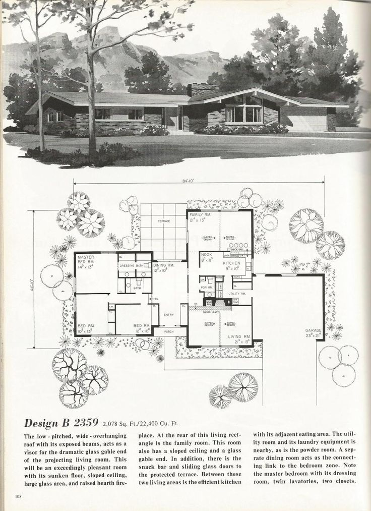 1000 Images About Mid Century Modern Floor Plans On
