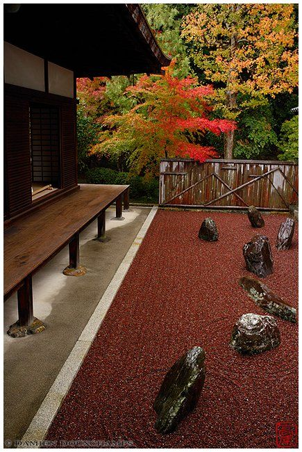 """Three zen gardens of the """"dry landscape"""" variety, also known as rock gardens of the karesansui style"""