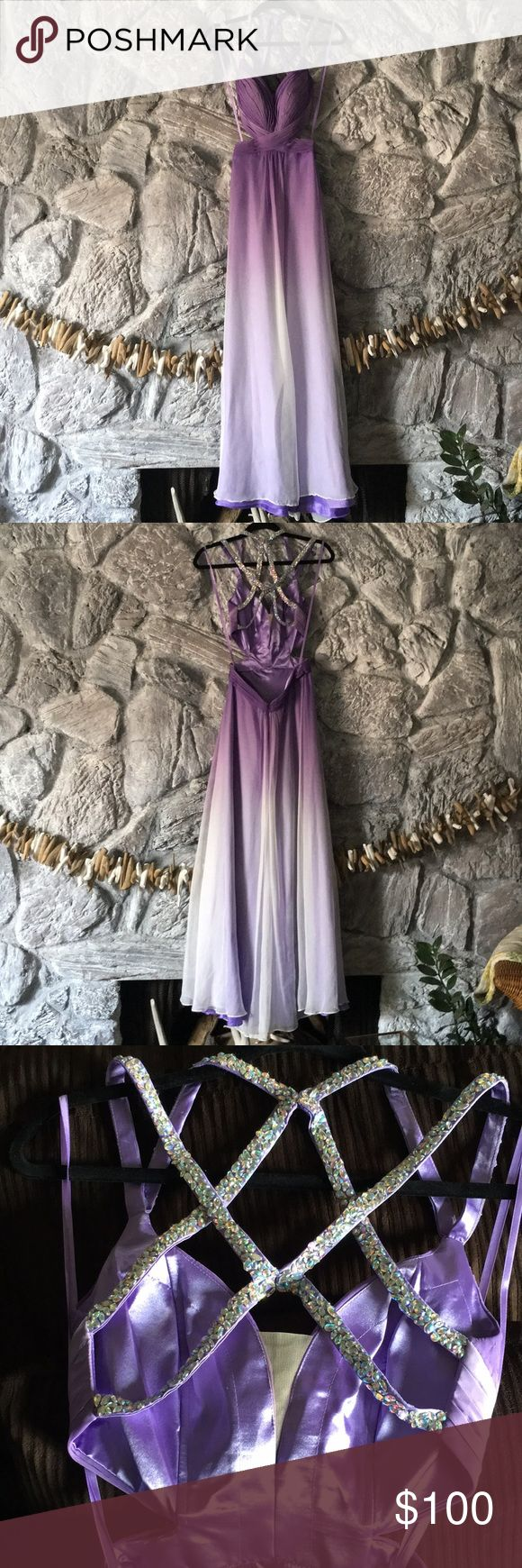"Gorgeous Purple Ombré La Femme prom dress Gorgeous Purple Ombré La Femme prom dress. Small near hem but not noticeable. Beautiful chiffon gown with a ""V"" neckline and ombre treatment. The gown features side outs and a stunning beaded strappy back. Back zipper. Last two pics are not the actual gown but that's how it looks La Femme Dresses Prom"
