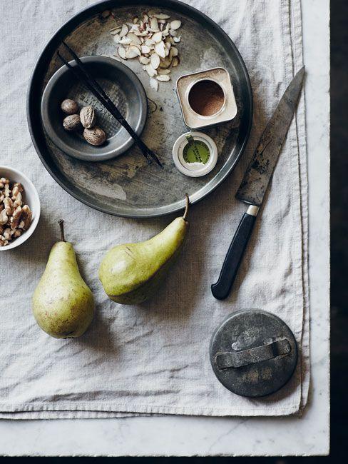 Michael Graydon, flat lay, styling, props styling, greys, pears