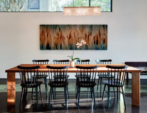 Art: Painting By Roi James, Harris Dining, Modern Dining Room, Custom Table  Made Of Long Leaf Pine, Salt Chair From Design Within Reach