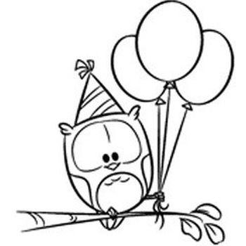 Timbro Gufo con palloncini
