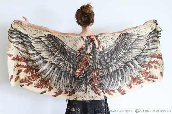 Earthy Toned Wings scarf and feathers, Hand painted, printed, stunning unique and useful, perfect gift