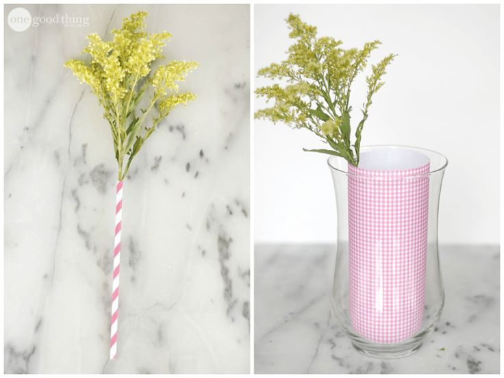 Use a smoothie straw to keep droopy flowers upright and beautiful. To hide the straws in a clear vase, put a smaller vase into a larger vase. Then wrap a piece of scrapbook paper around the smaller vase.