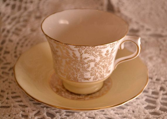Vale lemon coloured and gold chintz bone china teacup