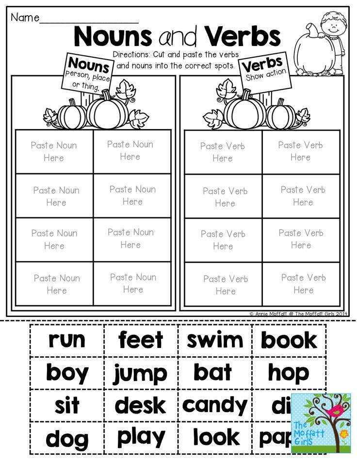 Nouns and Verbs (sorting) TONS of fun printables! Nouns