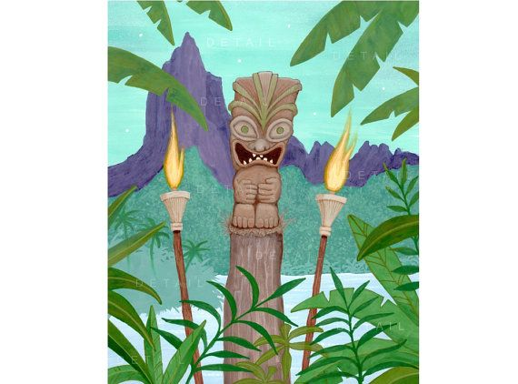 13 x 19 Tropical Tiki Torch Print Tropical Art Tiki by BobHoliday.  www.etsy.com/shop/BobHoliday  Available as an 8x10 and now a 5x7 too!