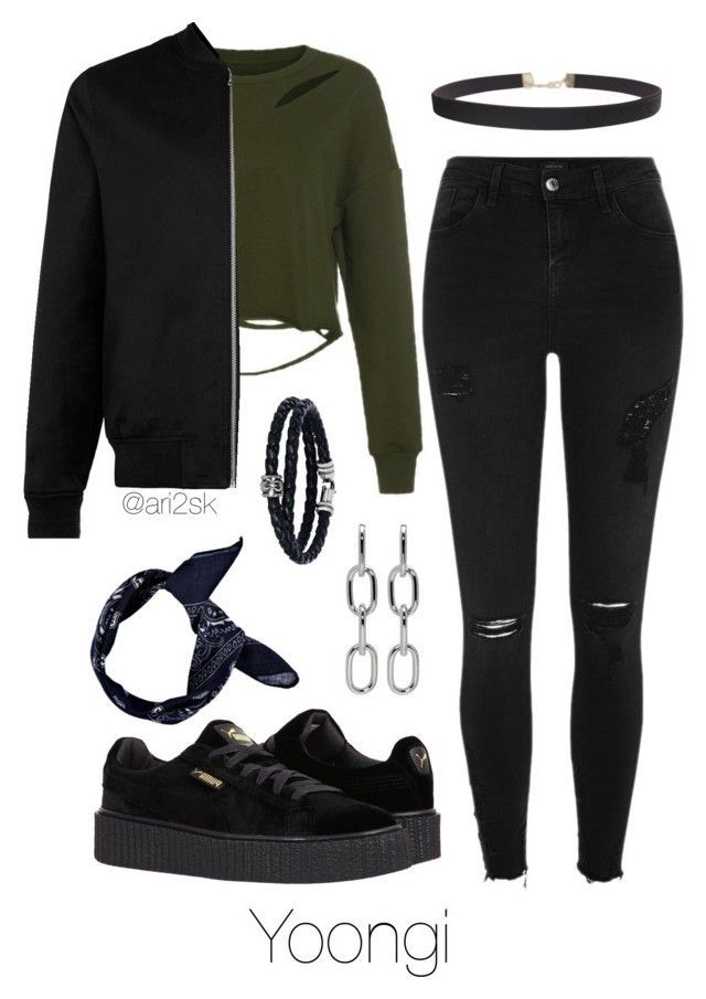 """""""Hanging out - Yoongi """" by ari2sk ❤ liked on Polyvore featuring River Island, Puma, Topman, Humble Chic, Alexander Wang, Phillip Gavriel and Boohoo"""