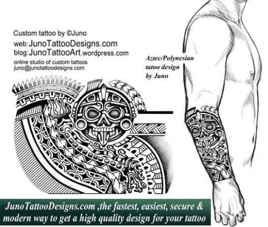 aztec-polynesian tattoo,tribal tattoo,quetzal tattoo, serpent tattoo, forearm tattoo, junotattoodesigns