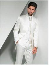 2016 Verkauf Slim Fit Ivory Bräutigam Smoking Stehkragen Groomsmen Best Man Hochzeit Prom Suits (Jacke + Pants + weste + Tie)(China (Mainland))