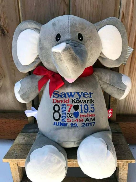 Zoo Nursery Decor Embroidered Birth Announcement Stuffed Animal